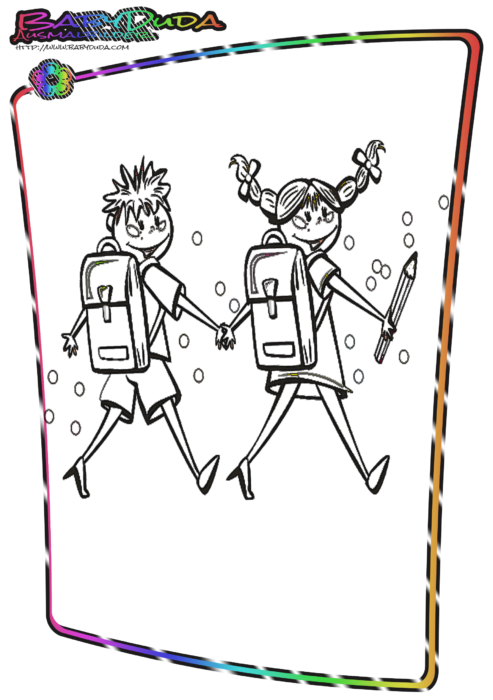 Schule-Ausmalbild-Schulkinder-493×700